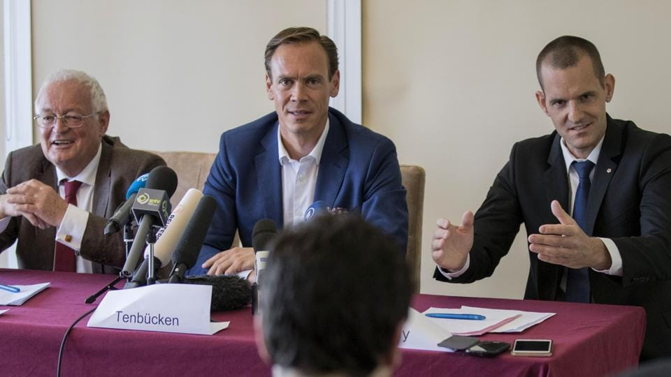 Former Chairmen of the chambers of the independent FIFA Ethics Committee, Hans-Joachim Eckert (L) and Dr. Cornel Borbely (R) give a press conference after FIFA's decision to remove its ethics team on Wednesday.