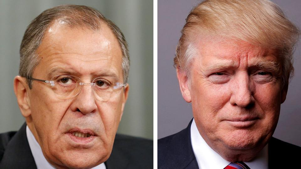 A combination of file photos showing Russian Foreign Minister Sergei Lavrov attending a news conference in Moscow, Russia, November 18, 2015, and U.S. President Donald Trump posing for a photo in New York City, U.S., May 17, 2016.