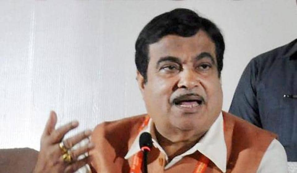 File photo of transport minister Nitin Gadkari at a press conference.