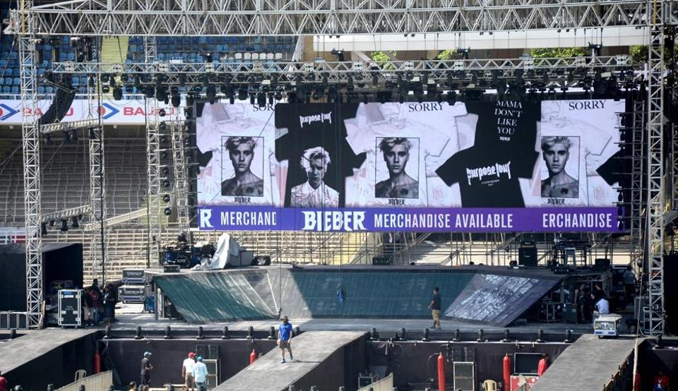 The stage where Justin Bieber will perform.