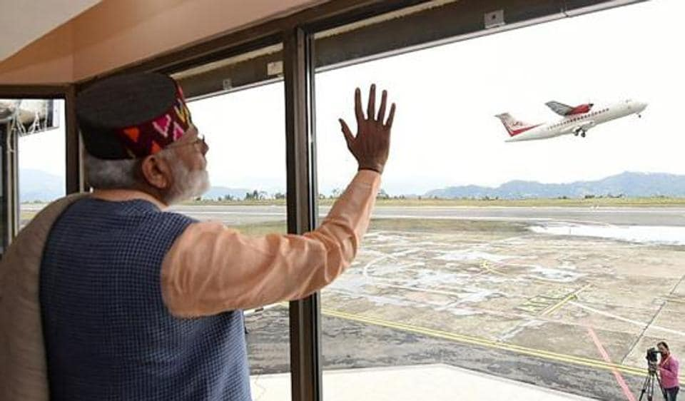 Prime Minister Narendra Modi during the launching of 'UDAN' the regional connectivity scheme for civil aviation at Jubbarhatti airport near Shimla.