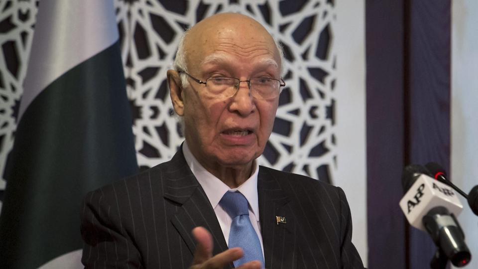 Pakistan's adviser on foreign affairs Sartaj Aziz.