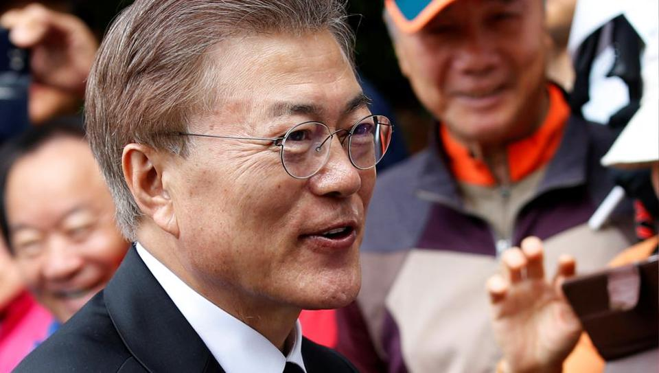 South Korea's President Moon Jae-in greets supporters in Seoul on Wednesday.