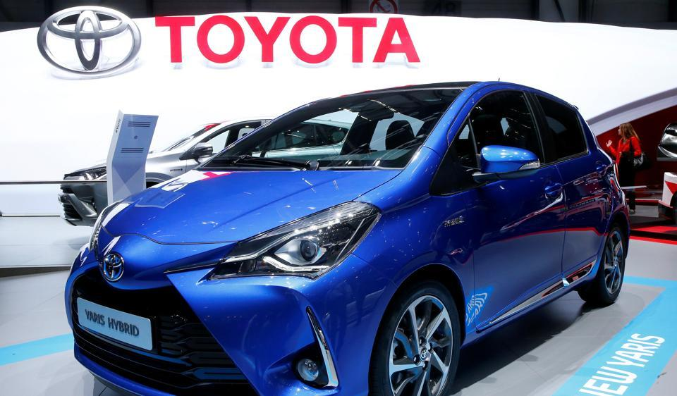 Toyota Yaris Hybrid is seen during the 87th International Motor Show at Palexpo in Geneva, Switzerland, March 7, 2017. REUTERS/Arnd Wiegmann