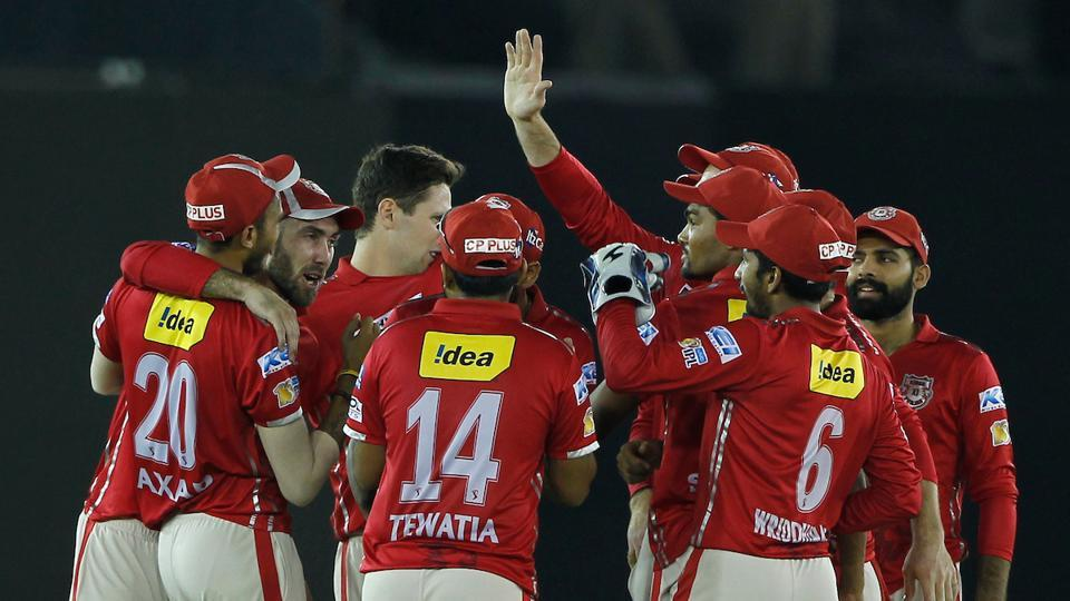 Kings XI Punjab players celebrate their 14-run victory over Kolkata Knight Riders which kept alive their chances of qualifying for the Indian Premier League playoffs. (BCCI)