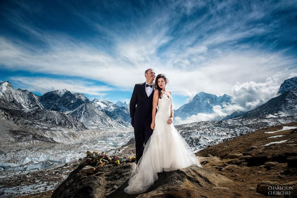 Ashley Schmeider and James Sisson exchanged vows at the Mount Everest.