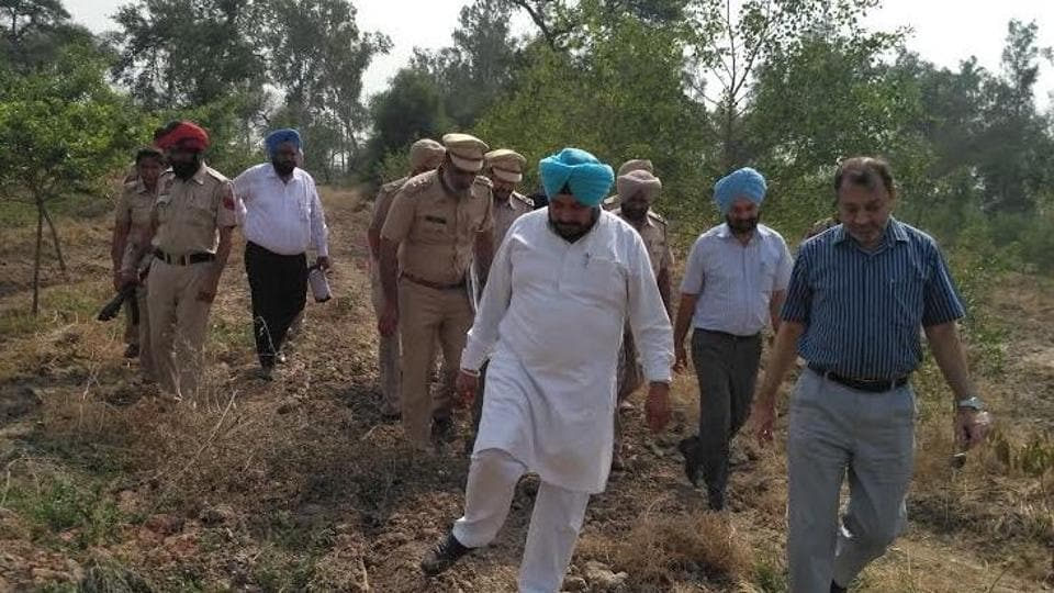 Minister of forests and welfare of SCs and BCs Sadhu Singh Dharamsot inspecting Bir Aishwan Wildlife Sanctuary in Sangrur on Wednesday.