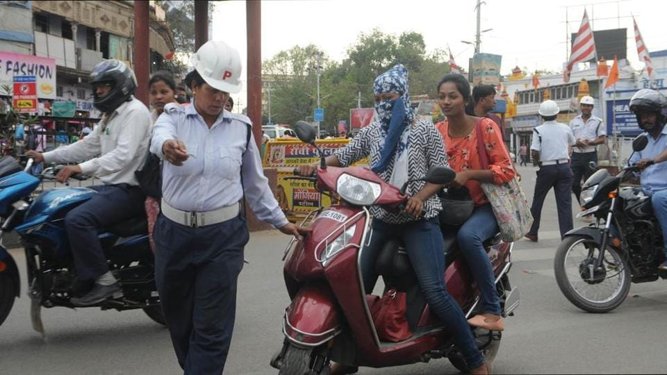 Traffic police during checking drive in Ranchi