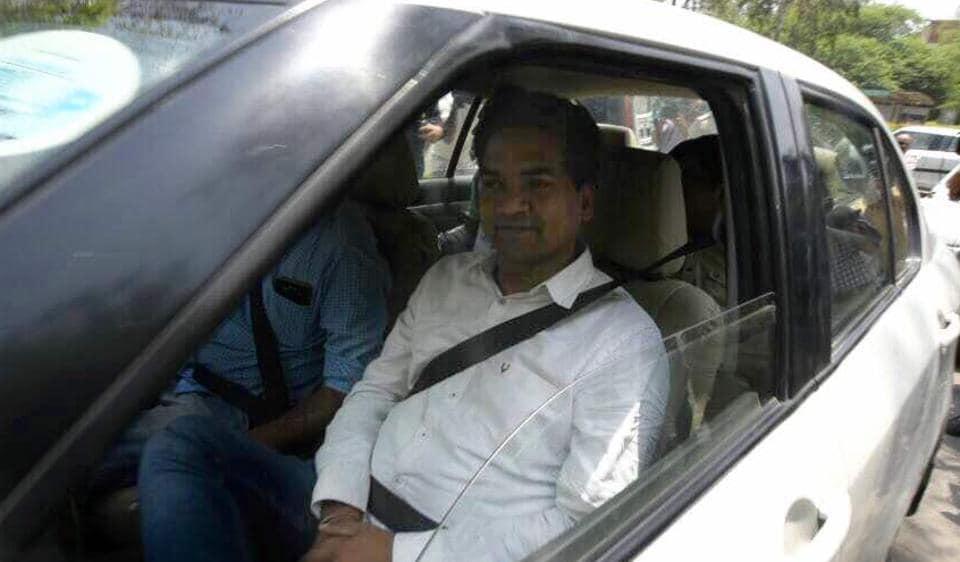 Sacked Delhi minister Kapil Mishra outside ACB office in north Delhi's Civil Lines.