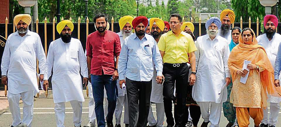 AAP leaders after meeting Punjab governor VP Singh Badnore at Raj Bhawan in Chandigarh.