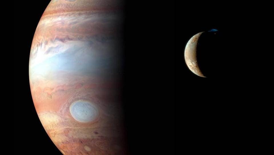 Jupiter and its volcanic moon Io taken by the New Horizons spacecraft's flyby in early 2007.