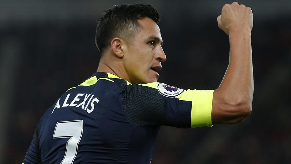Arsenal's Alexis Sanchez celebrates scoring the first goal against Southampton in their Premier League clash.