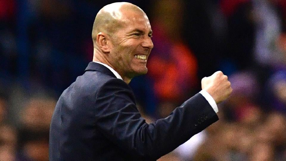 Real Madrid coach Zinedine Zidane gestures on the sideline during the UEFA Champions League semi final second leg  match against Atletico Madrid.