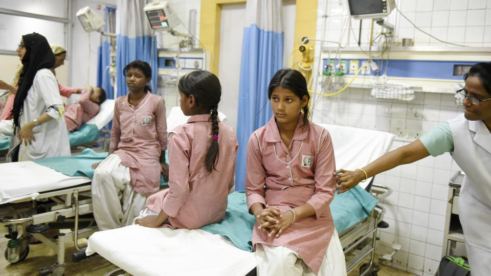 Around 475 students were hospitalised after a chemical spill  at Container Corporation's Tughlaqabad depot.