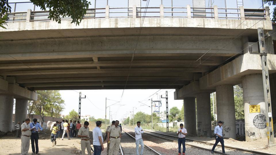 The spot in Ghaziabad where a 22-year-old woman committed suicide by jumping before a speeding train, days after her father also killed himself at the same spot on May 5.