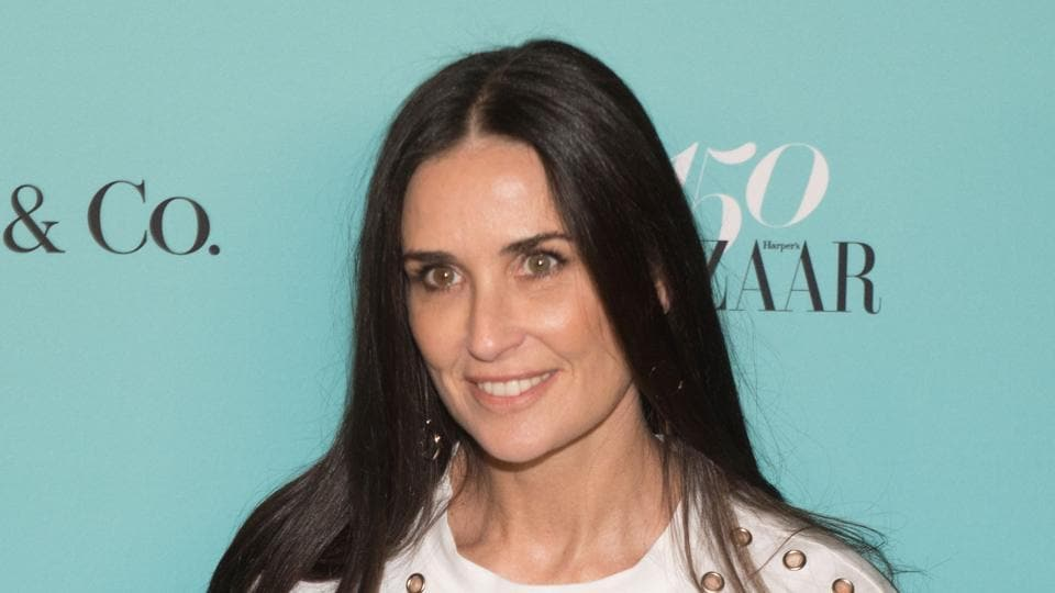 Actor Demi Moore arrives for the Harper's Bazaar and Tiffany & Co., celebration of 150 years of women, fashion and New York at The Rainbow Room.