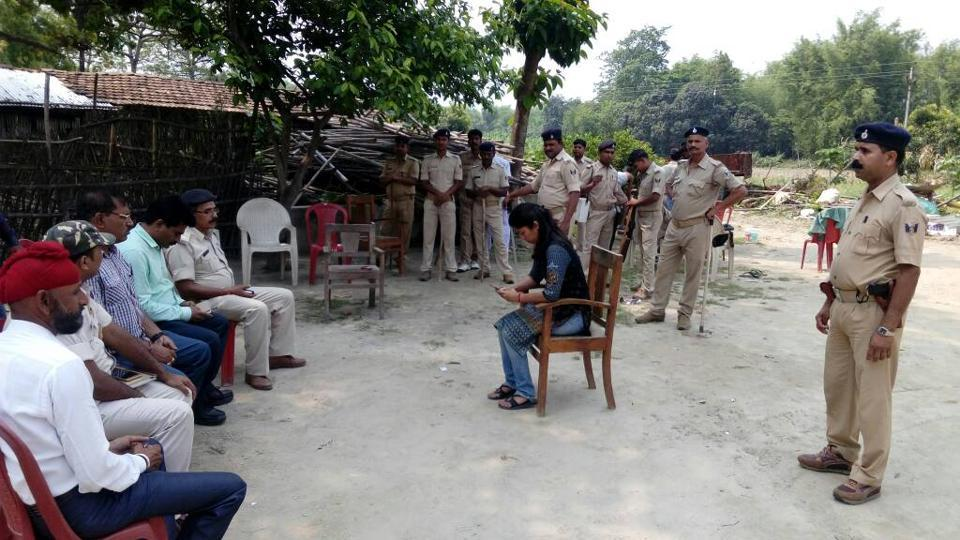 Officials camp at Barhi Bhains Diara village in Bihar's Katihar district, after it was gripped by communal tension.