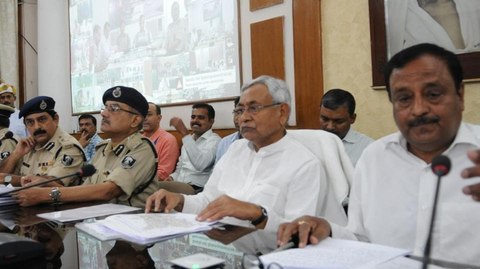 Bihar chief minister Nitish Kumar holding a review meeting with senior officials in Patna on Wednesday.
