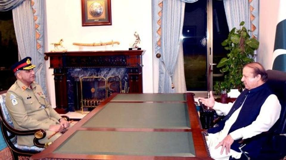 File photo of Pakistan Prime Minister Nawaz Sharif (right) with army chief Gen Qamar Javed Bajwa at the Prime Minister's House in Islamabad on November 26, 2016.