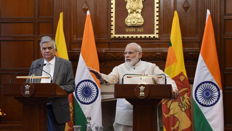 Prime Minister Narendra Modi with his Sri Lankan counterpart Ranil Wickremesinghe during the latter's visit to New Delhi.