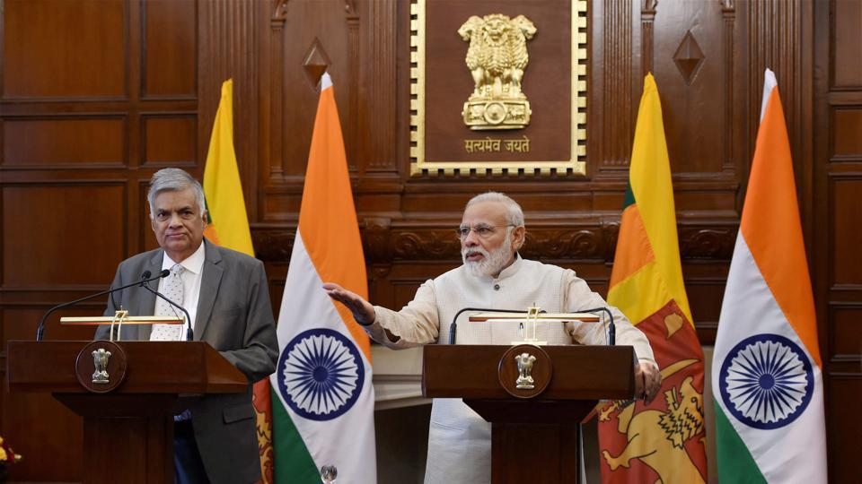 Prime Minister Narendra Modi (Right) with his Sri Lankan counterpart Ranil Wickremesinghe, Hyderabad House, New Delhi, April 26