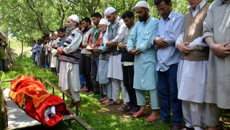 Funeral procession of Lt Ummer Fayaz who was abducted and killed by suspected militants in Shopian district of south Kashmir.
