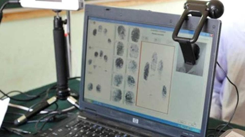 A laptop showing images of fingerprints procured during the data collecting process for issuing Aadhaar card.