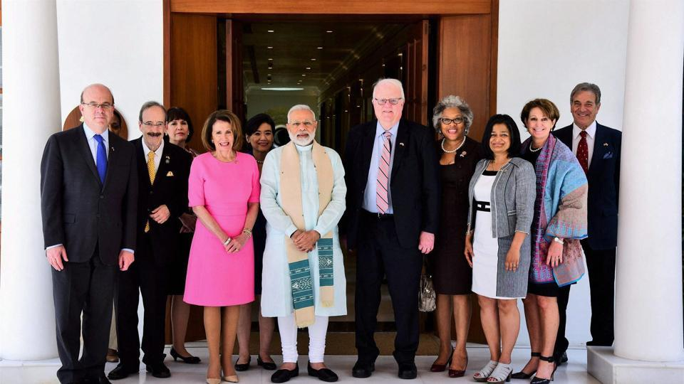 Prime Minister Narendra Modi with a US Congressional delegation which called on him in New Delhi on Thursday.