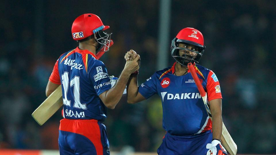 Amit Mishra (R) finally sealed the win for DD with a boundary. (BCCI)