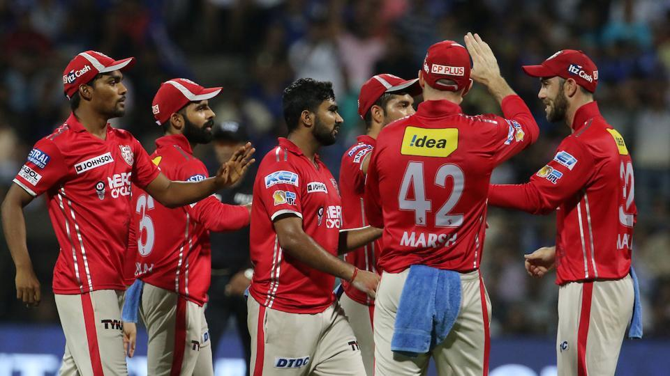 Kings XI Punjab players celebrate the wicket of Rohit Sharma during their 13th match of 2017 Indian Premier League against Mumbai Indians. Get full cricket score of Mumbai Indians vs Kings XI Punjab here