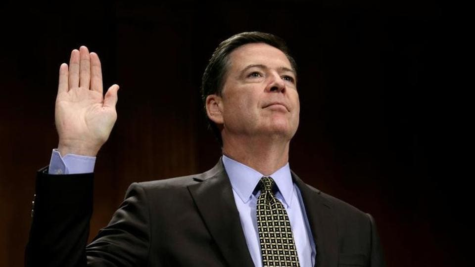 FBI director James Comey is sworn in to testify before a Senate Judiciary Committee hearing on