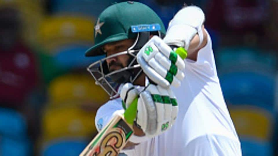 Azhar Ali of Pakistan hits a boundary against West Indies at the Windsor Park Stadium in Roseau, Dominica.