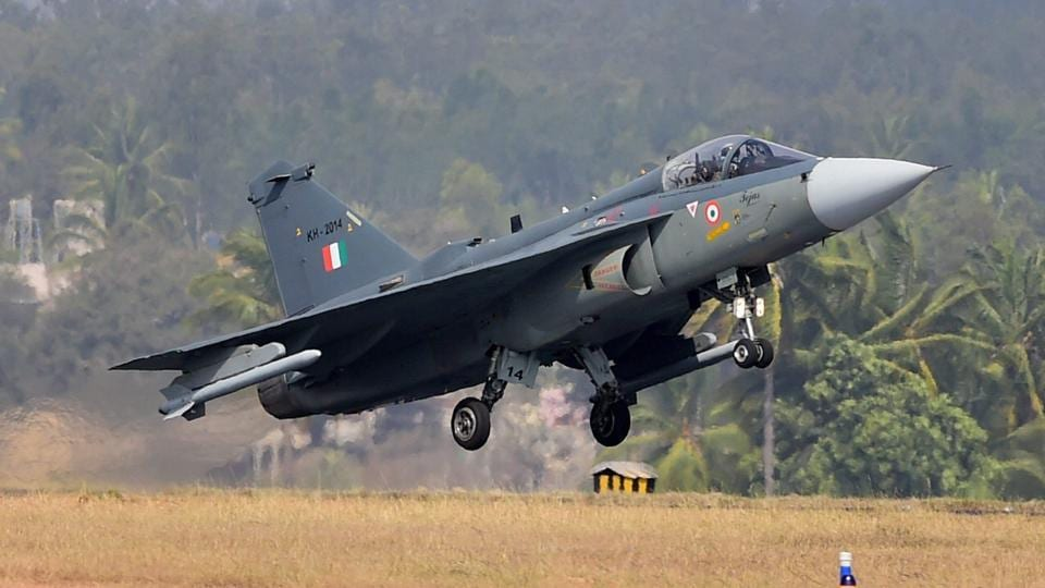 Indian Air Force's Light Combat aircraft Tejas takes off during the inauguration of the 11th biennial edition of Aero India 2017 in Bengaluru in February 2017.