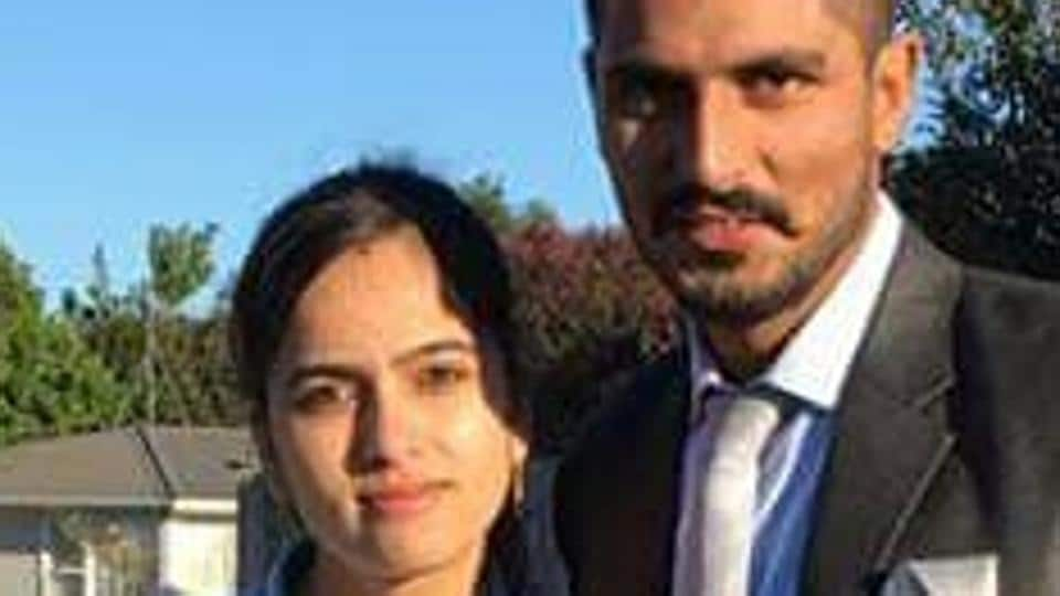 Gurpreet Kaur and husband Satwinder Singh, in a photo shared by her brother Sukhbir Singh.