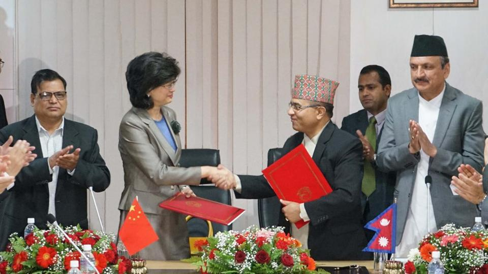 Nepal's foreign secretary Shanker Das Bairagi and Chinese ambassador Yu Hong at the ceremony in Nepal's foreign ministry where the Memorandum of Understanding on Cooperation under the Belt and Road Initiative was signed.
