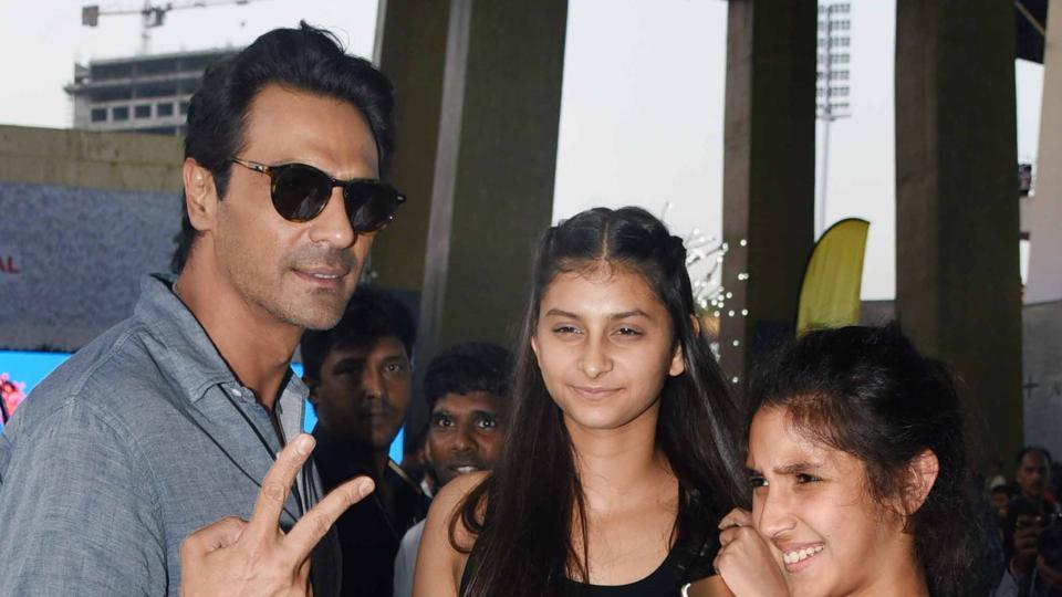 Actor Arjun Rampal with his daughters Myraa and Mahikaa.