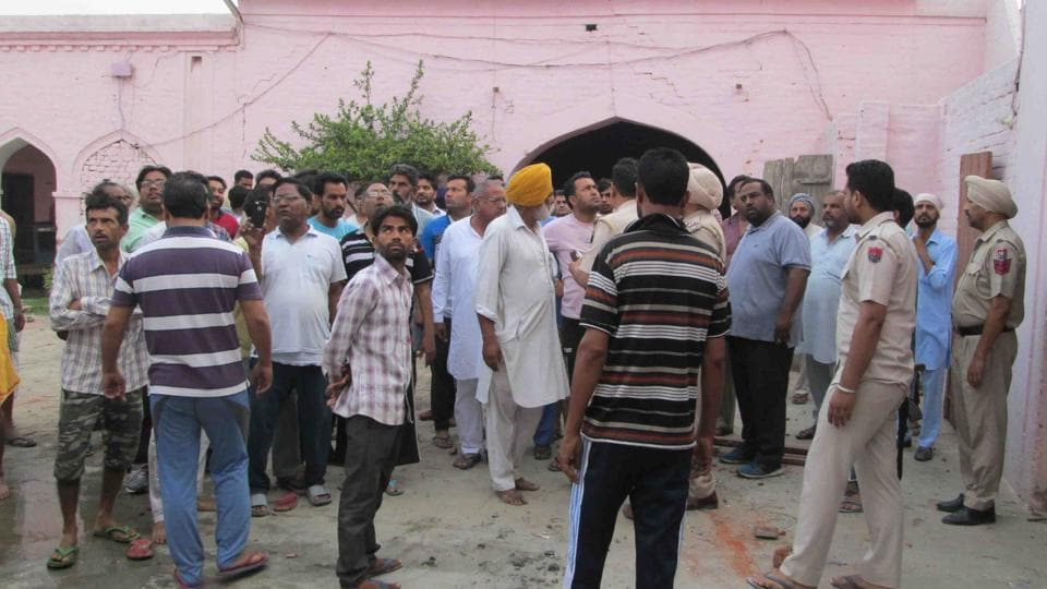 Police take control of the dera Parmanand premises at Tapa in Barnala district following a shootout that killed two dera members.