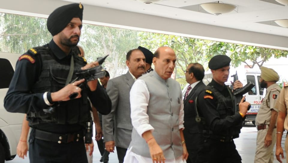 Union home minister Rajnath Singh arriving to attend the Northern Zonal Council meeting at the Taj Hotel in Chandigarh on Friday.