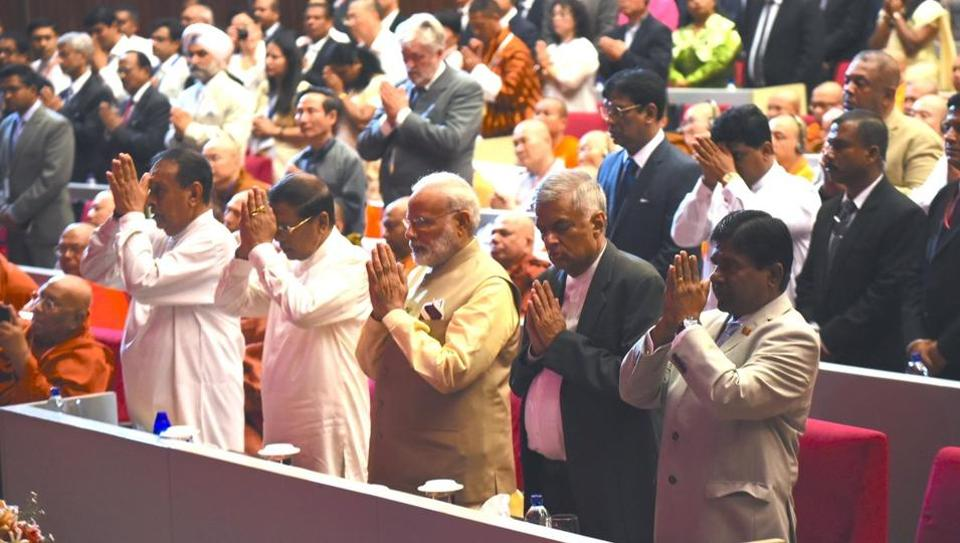 Prime Minister Narendra Modi takes part in the 14th International Vesak Day celebrations in Colombo.