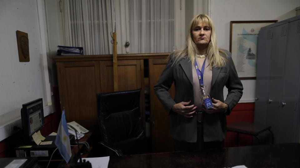 Police Analia Pasantino poses for a picture during an interview in Buenos Aires, on May 11.