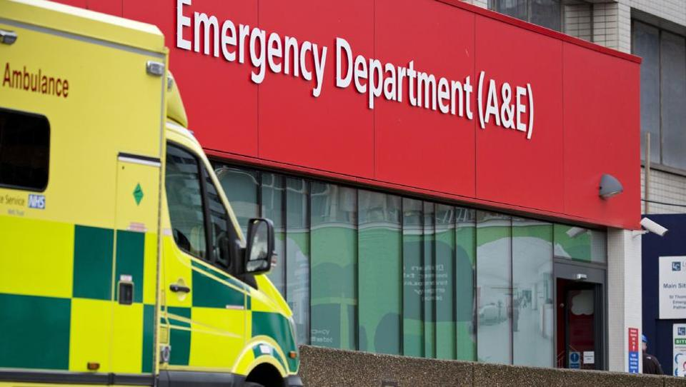 This file photo shows an ambulance parked outside the Accident and Emergency department (A&E) at St Thomas' Hospital in London. Several British hospitals were hit by a cyber attack on May 12, the country's National Health Service said, forcing some to cancel routine appointments.