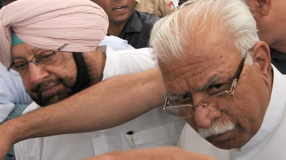 CMs Capt Amarinder Singh and Manohar Lal Khattar at a zonal conference in Chandigarh on Friday.