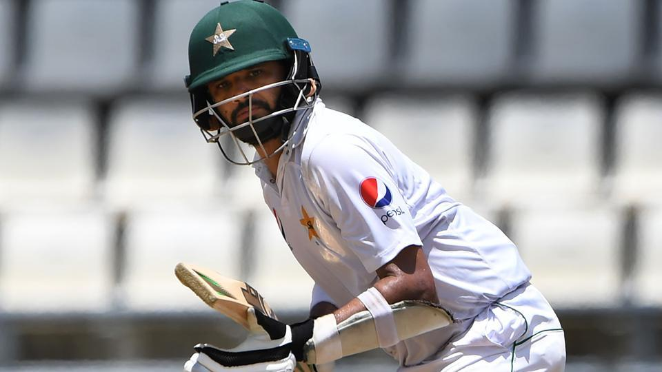 Azhar Ali of Pakistan hits a shot on Day 2 of their third Test against the West Indies at the Windsor Park Stadium in Roseau, Dominica.