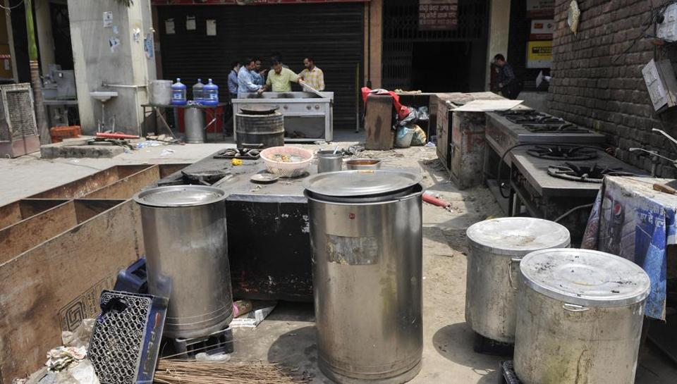 Utensils and other items lying scattered at the canteen of the District Courts Complex in Ludhiana on Wednesday.
