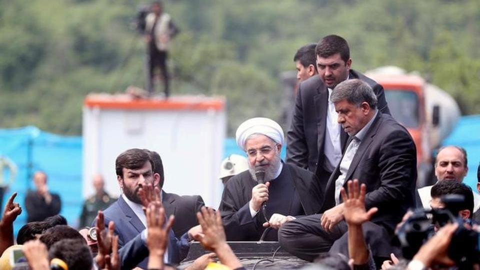 Iran's President Hassan Rouhani speaks as he visits Azadshahr mine explosion site in Azadshahr, Golestan Province, Iran May 7, 2017. Picture taken May 7, 2017.