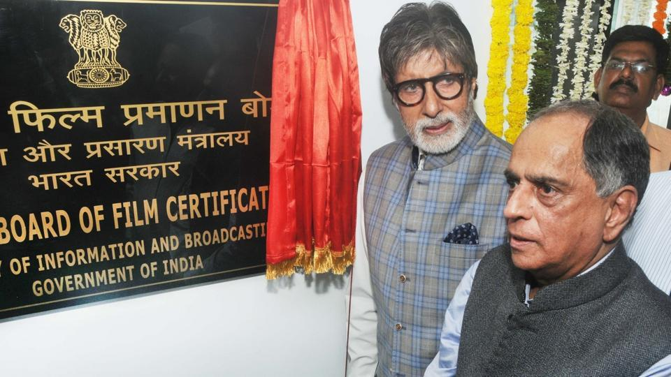 Amitabh Bachchan and CBFC chairman Pahlaj Nihalani during inauguration of new office premise of the Central Board of Film Certification in Mumbai on April 4, 2017.
