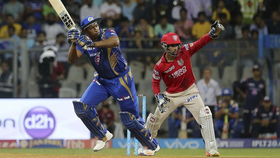 Mumbai Indians player Kieron Pollard plays a shot during the IPL 2017 match versus Kings XI Punjab in Mumbai on Thursday. MI lost by seven runs in a tall-scoring contest.