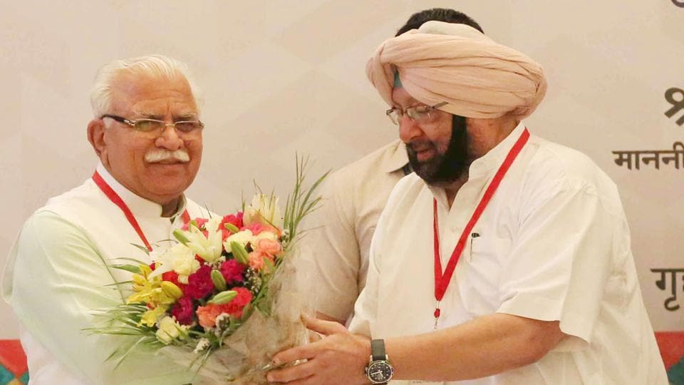 Haryana chief minister Manohar Lal  Khattar being greeted by Punjabg chief minister Capt Amarinder Singh at the 28th Meeting of Northern Zonal Council (NZC) held under the chairmanship of Union home minister Rajnath Singh in Chandigarh on Friday.