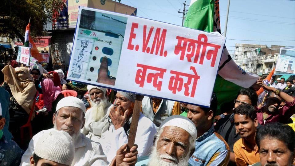 Congress party activists during a demonstration against use of Electronic Voting Machines (EVM) in the elections.