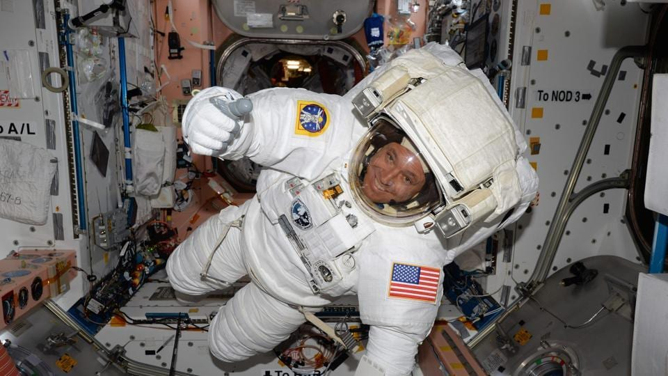 Expedition 51 Flight Engineer Jack Fischer of NASA seen inside the International Space Station (ISS) in his spacesuit during a fit check, in preparation for a spacewalk on May 12.